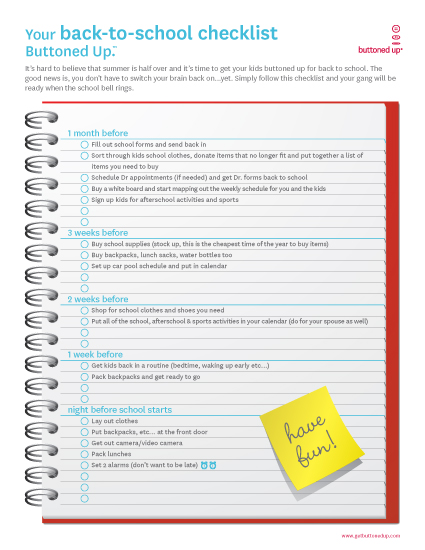 Free printable backtoschool checklist form Buttoned Up