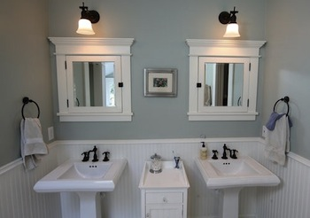 Installing a medicine cabinet above your sink is an easy way to add some extra storage, without taking up floor space. {via projects.ajc.com}