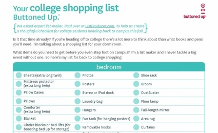 Free printable back to college shopping list