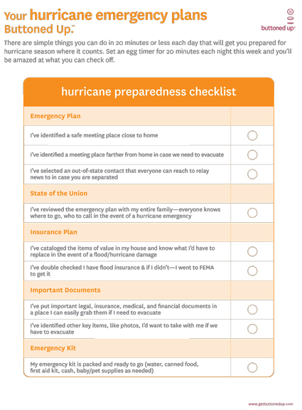 Free printable hurricane plan checklist « Buttoned Up