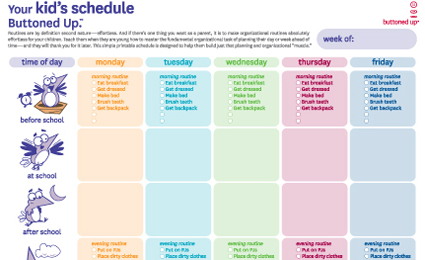 schedule sheet printable