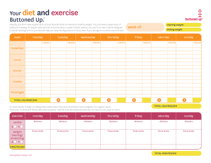 free printable diet exercise worksheet