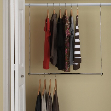 Doulbe your closet space with a double rod hanging extension