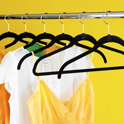 Invest in flocked hangers when organizing your closet