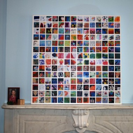 Organize kids artwork in a tile