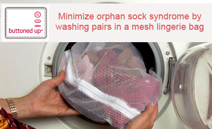 Laundry tip - wash socks in mesh bag to keep them together
