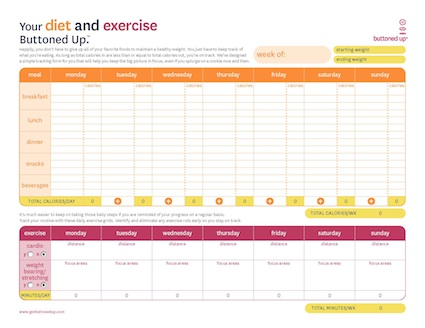 Diet and exercise tracking sheet will help you stay on track and lose more weight